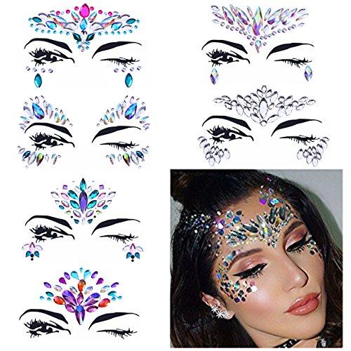 6 Sets Women Gems Glitter Rhinestone Mermaid Face Jewels Tattoo Crystal Tears Gem Stones Bindi Temporary Stickers -