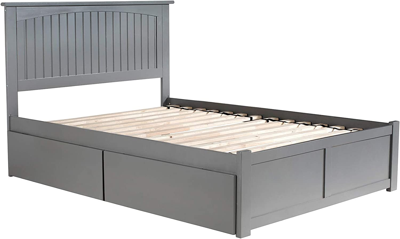 Atlantic Furniture Nantucket Platform Bed with 2 Urban Bed Drawers, Full, Grey
