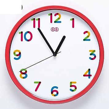 YYL Infantil Sala Dibujos Animados Los Niños Reloj De Pared,Dormitorios Salón Silencioso Reloj-D 10pulgada: Amazon.es: Hogar