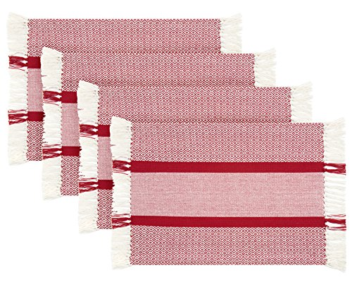 Sticky Toffee Cotton Woven Placemat Set with Fringe, Traditional Diamond, 4 Pack, Red, 14 in x 19 in (Placemats For Christmas)
