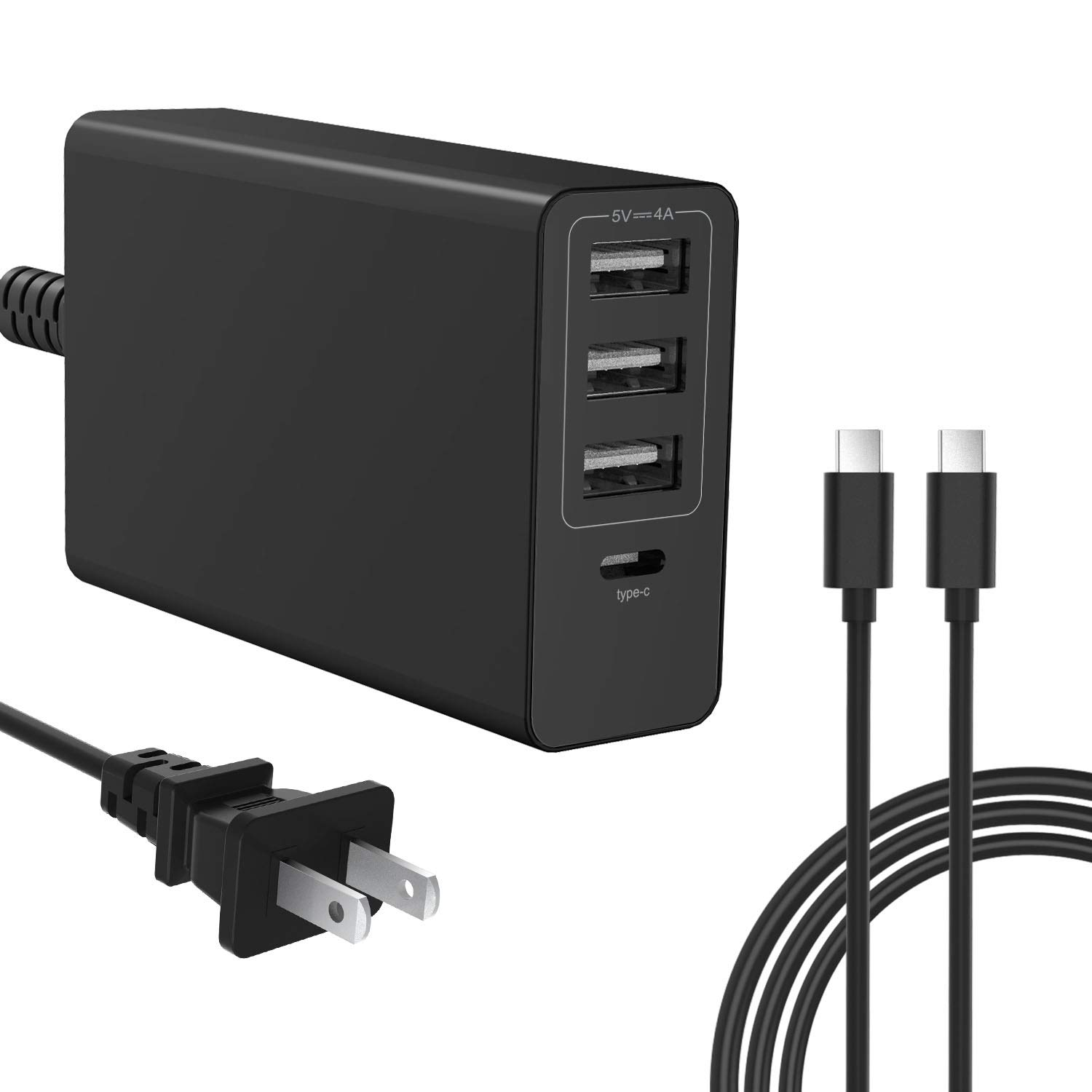 61w USB C Charger for MacBook Pro 13 inch 2016 2017 2018, Type C PD Wall Charger Power Adapter for Laptop/Ipad Pro/Phone/Nexus 5X 6P/ Samsung Galaxy S9/ Google Pixel 2XL/ Lg Stylo 4 Etc (Black)