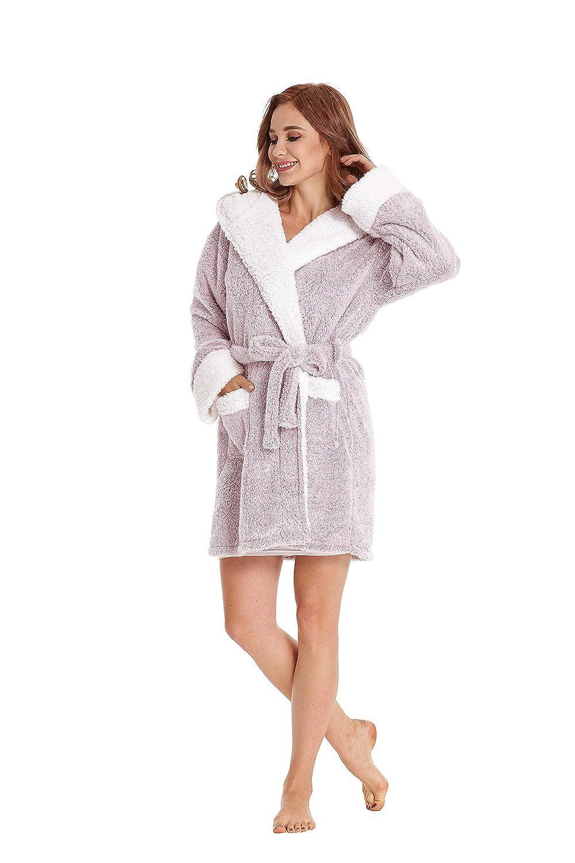 84a548b438 TIMSOPHIA Women s Robe For Women With Koala Hood (Gray Pink ...
