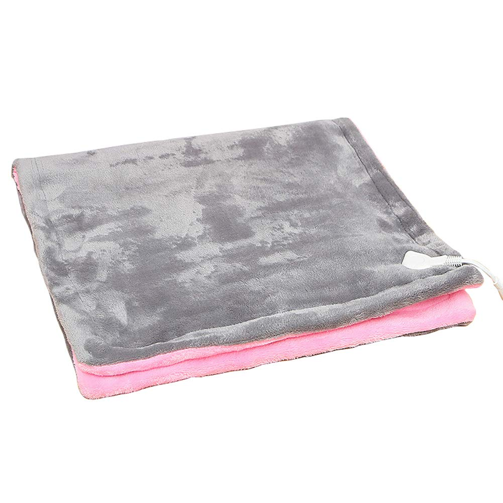 Wgwioo Electric Heating Throw/Blanket,Soft Warm Plush Heated Pad Back, Knee,Gray,80X45cm