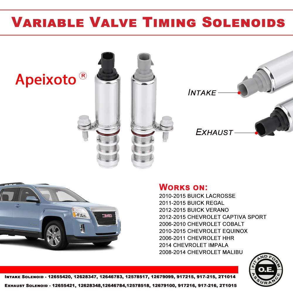 2 PCS Intake & Exhaust Camshaft Position Actuator Solenoid Control Valve  12655420 12655421 917-215 917-216 for GM Chevy Cobalt Malibu G5 G6 HHR  Buick