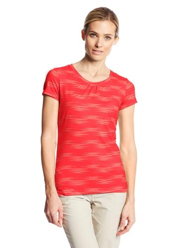 Columbia Women's Trail Crush Print Short Sleeve Shirt, Red Hibiscus, Large
