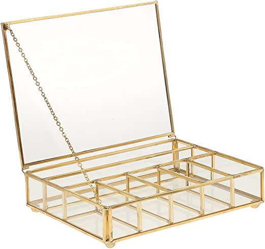 Caja de Cristal Cuadrada Geométrica Moderna de Torrecilla con Marco de Metal Robusto 7 Rejillas de DIY para Planta/Flor/Planta Grasa - Cobre, 20 x 15 x 5cm: Amazon.es: Hogar