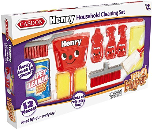 Casdon - Little Helper Henry Housekeeping Set Roleplay Toy, Red/Black