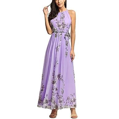 99f24739b93a Afoxsos Women Floral Print Plus Size Maxi Dress Bohemia Halter Neck Chiffon  Casual Dress Lavender