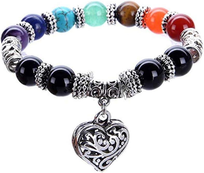 HSKB - Pulsera de Perlas y Piedras Preciosas para Mujer, de Plata con Piedras de energía y Piedra curativa