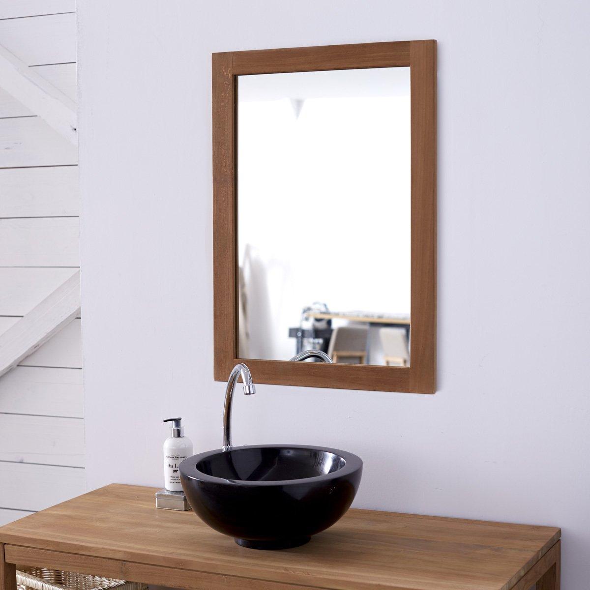 Tikamoon Bahya Solo Miroir - Teck - Beige - 50 x 2 x 70 cm