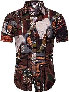 BESSKY Mens Dress Shirts Summer Cotton Linen Buttons Casual Slim T-Shirt Short Sleeve