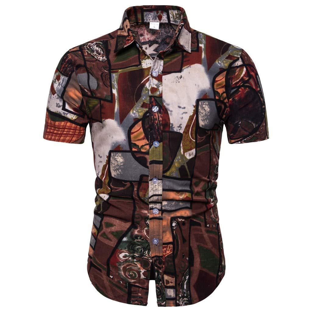 メンズ リネンシャツ Tronet メンズ 夏用 コットンリネンボタン カジュアルTシャツ 半袖シャツ C Medium