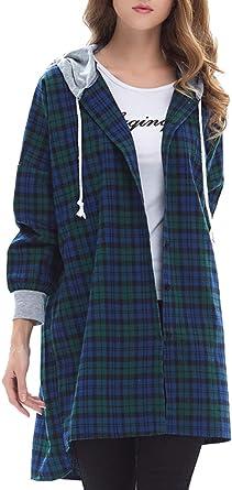 BLACKMYTH Mujer Casual Capucha Camisa a Cuadros High Low Slit Loose Largo Blusa Tops Verde One Size: Amazon.es: Ropa y accesorios