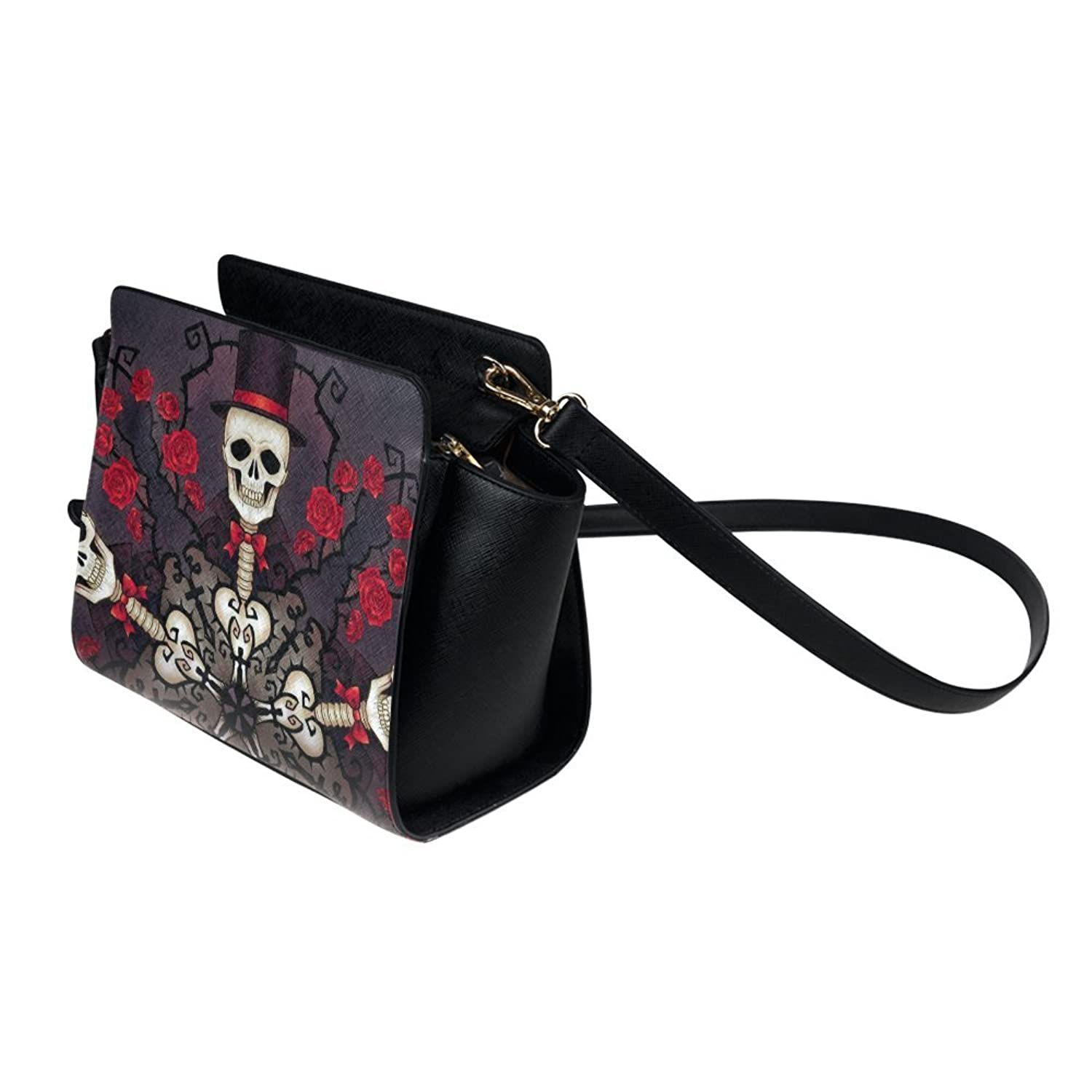 meincare Women's Skeletons and Roses PU leather Satchel Bag