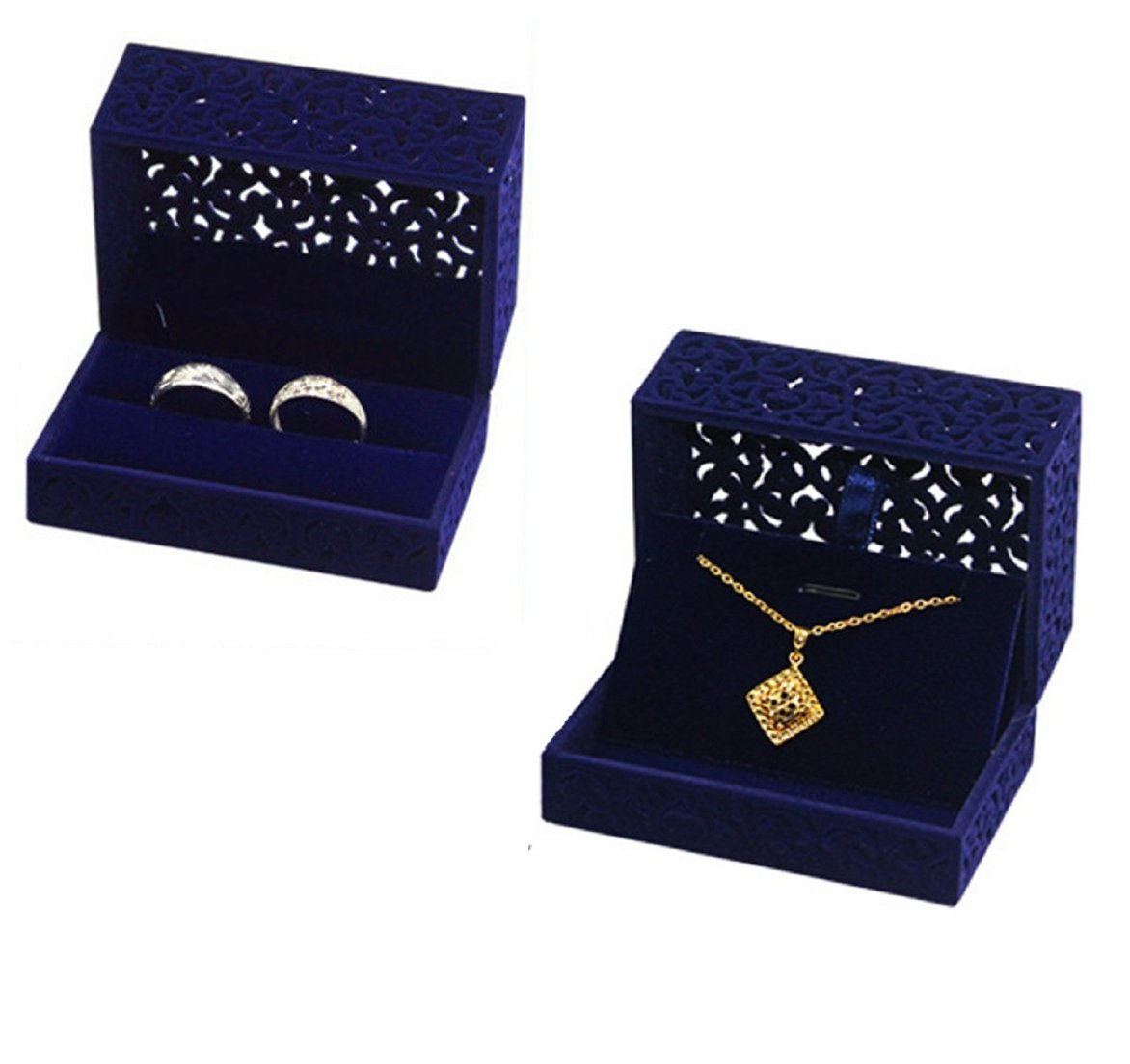 FUTISKY Velvet Ring Box Necklace Box Set, Navy Blue Hollow Jewelry Storage Box Double Ring Engagement Wedding Gift (Ring & Necklace Box Set)