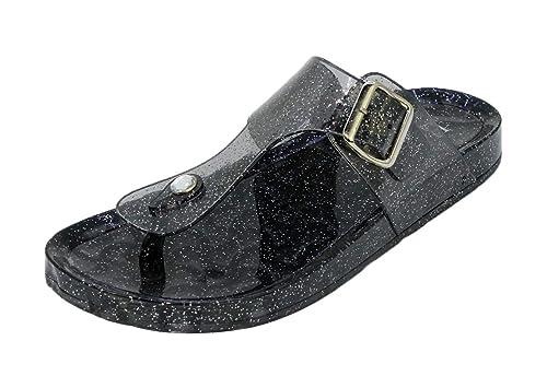 2c336b370130 Amazon.com | JJ Special Jelly Sandal Flip Flop Open Toe - Glitter Slide  Slippers Black | Flip-Flops