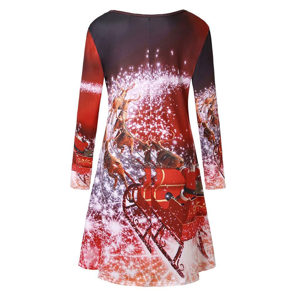 Auifor Christmas Dresses Women Chic Fashion Long Sleeve O-Neck Nice Christmas Themed Print Party Dress Beach Xmas Dress