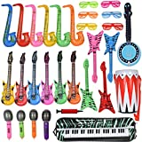 Max Fun Inflatable Rock Star Toy Set, 30 PCS Random Color Inflatable Party Props Musical Instrument Inflate Rock Band Assortment for Concert Theme Party Favors Rock and Roll Party Supplies