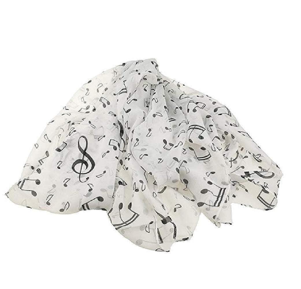 Mens Fashion Elegant Musical Note Print Chiffon Long Scarf Shawls Scarves