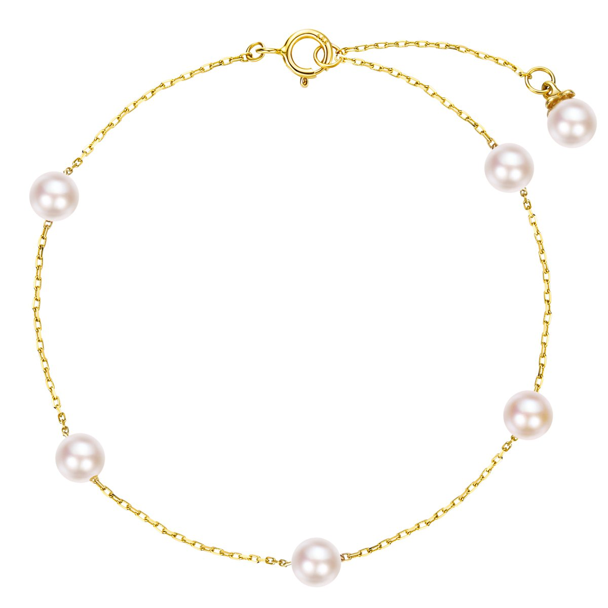 Carleen Solid 14K Yellow Gold Dainty Delicate Pearl Bracelets for Women Girls Gifts for Valentine/'s Day 6.70+1.20 inch 3260