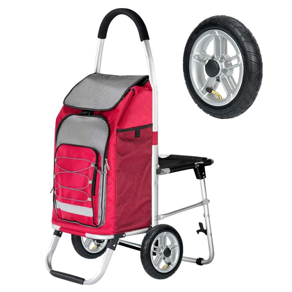車輪付き折りたたみ式ショッピングカート、シート付きトロリードリーバッグトロリーバッグ折りたたみ椅子ドリー、軽量折りたたみランドリー、ショッピング、食料品、ユーティリティトロリー、プッシュドリーローリングチェア (色 : 赤) B07Q5MD3W4 赤