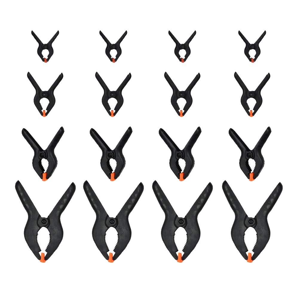 Plastic Spring Clamps,24 Pcs Studio Backdrop Clips with 4 Size,Large Heavy Duty IY Tools Muslin Spring Clamps Clips Set Ideal for DIY Projects,Photo Studios,Arts and Crafts