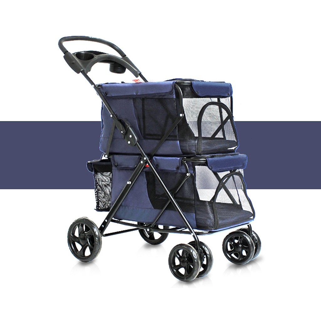 Navy bluee Pet trolley NAUY- Easy folding double Dogs big space carts Four rounds of outdoor travel supplies (color   Navy bluee)