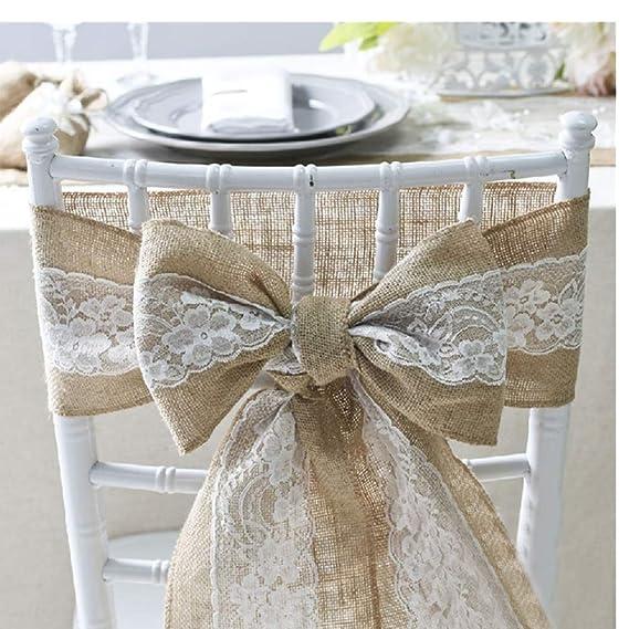 Lazo de Lino para decoración de sillas en boda, cumpleaños, fiesta.