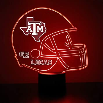 Mirror Magic Texas A M Aggies Light Up Led Lamp Football Helmet Night Light For Bedroom With Free Personalization Features Licensed Decal And Remote Amazon In Home Kitchen