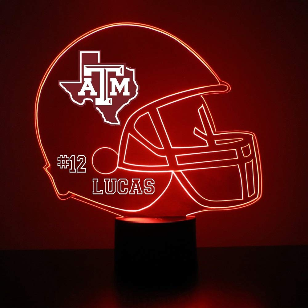 Mirror Magic Store Texas A&M Aggies Football Helmet LED Night Light with Free Personalization - Night Lamp - Table Lamp - Featuring Licensed Decal