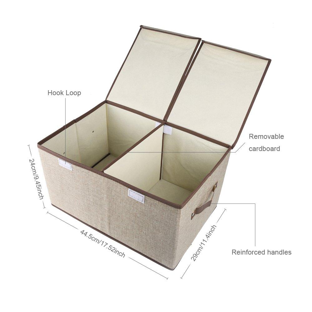 Cubos de almacenamiento plegables, COKOSIM Tela Lino Bin doble tapas cajas de almacenamiento plegable con doble asas para bebé, niños, ropa para niños Organizador, artículos para el hogar 46x30x25cm (Beige)