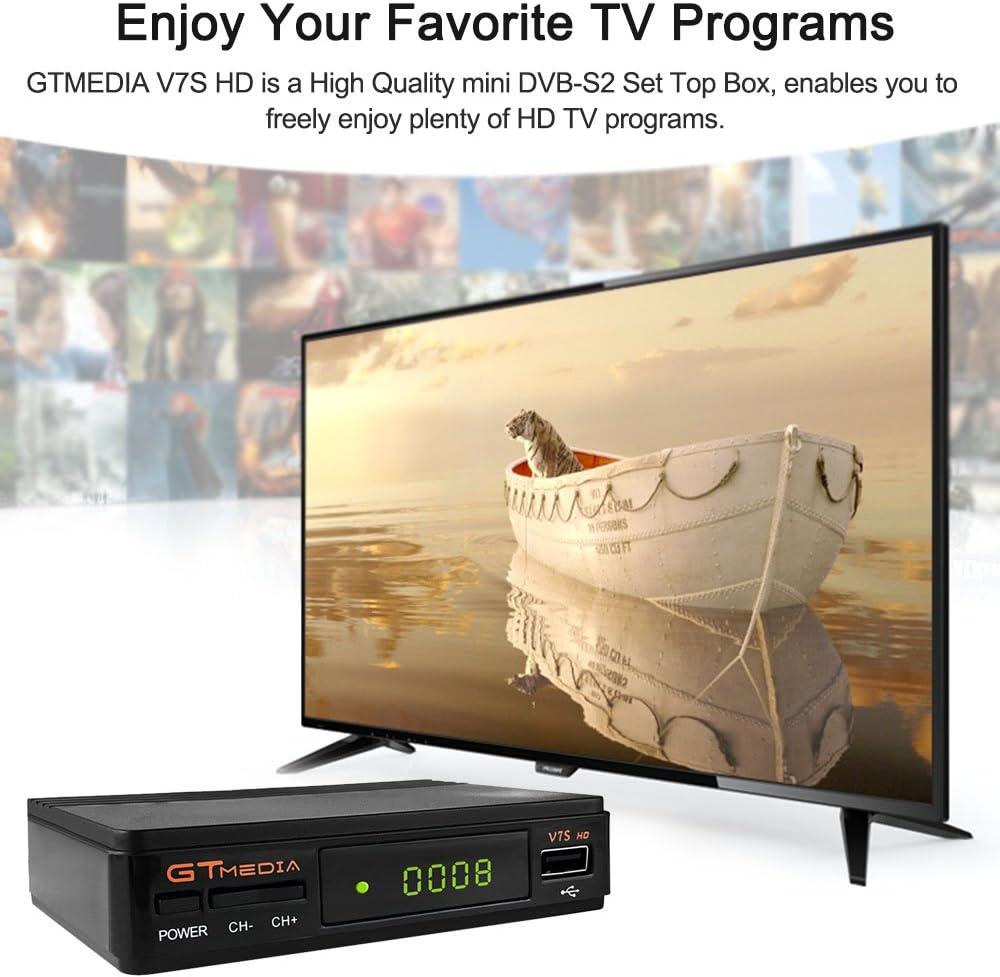 GT Media V7S HD DVB-S2 Decodificador de Receptor de TV Satelital Freesat V7 HD Actualización con Antena USB WiFi FTA 1080P Full HD Compatible con Ccam, Newcam, PVR, Youtube, PowerVu, Dre y
