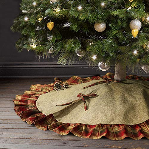Ivenf Christmas Tree Skirt, 48 inches Large Burlap with Plaid Ruffle Trim Skirt, Rustic Xmas Tree Holiday Decorations