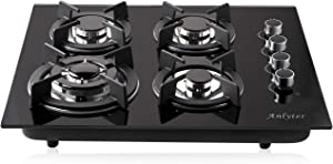 Anlyter 24 Inch Gas Cooktop, 4 Burners Built-in Gas Stovetop (Thermocouple Protection), Tempered Glass Gas Hob LPG/NG Dual Fuel Sealed Gas Cooker with Wok Stand and Pressure Regulator