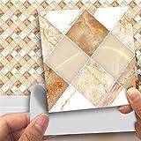 Decorson 3D Diamond Marble Mosaic Tile Stickers,18pcs/set,3.94x3.94inch