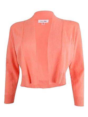 f016118b313728 Calvin Klein Womens Petites Cropped Open Front Shrug Sweater Orange ...