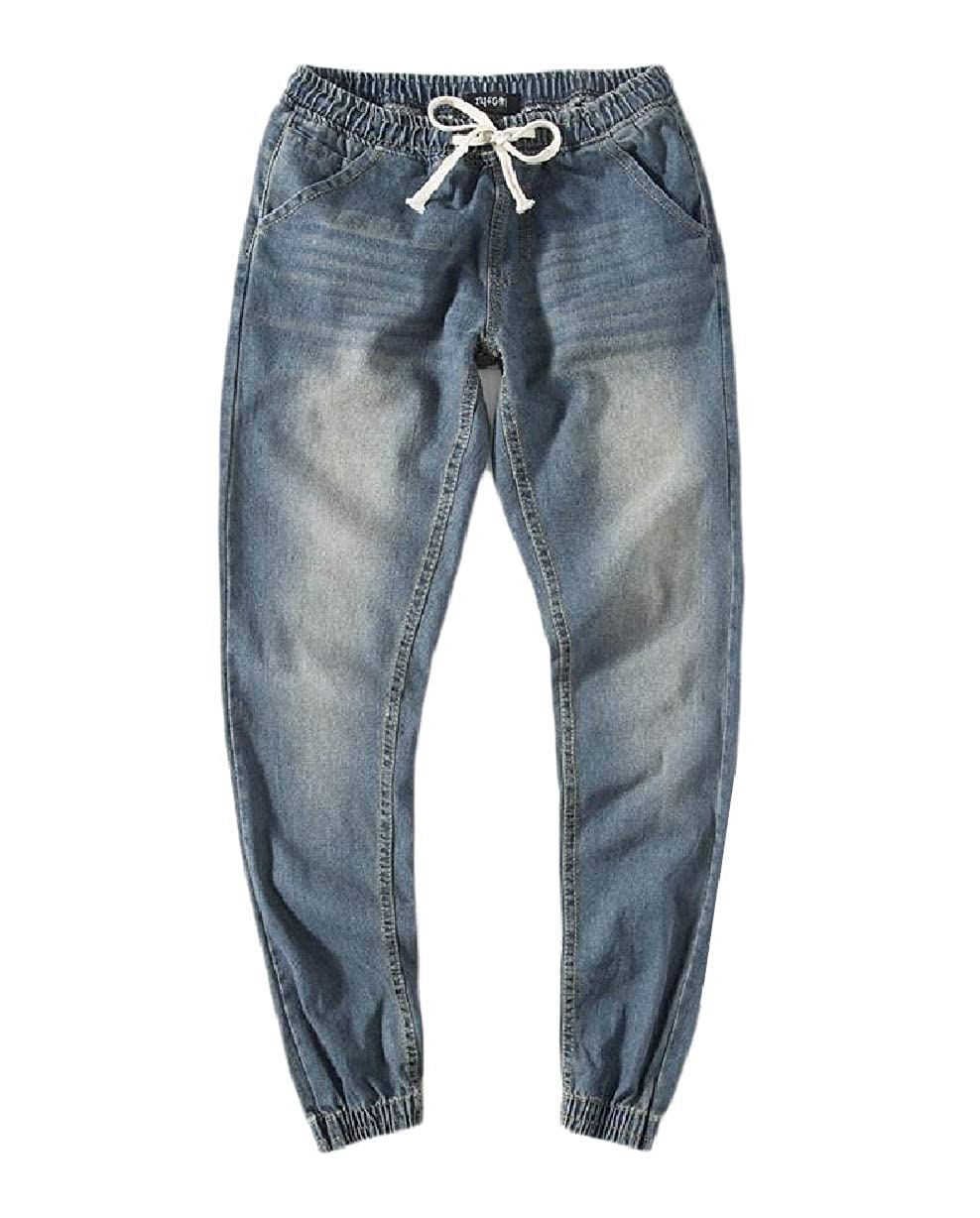 Unastar Mens Slim-Tapered Washed Elastic Waist Relaxed Fit Denim Jeans