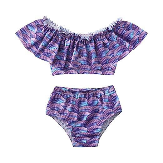 906918bd96 Amazon.com: Elogoog Swimwear Kids Baby Girl Swimsuit Mermaid Ruffle Bathing  Suit 2PCS Bikini Sets: Sports & Outdoors