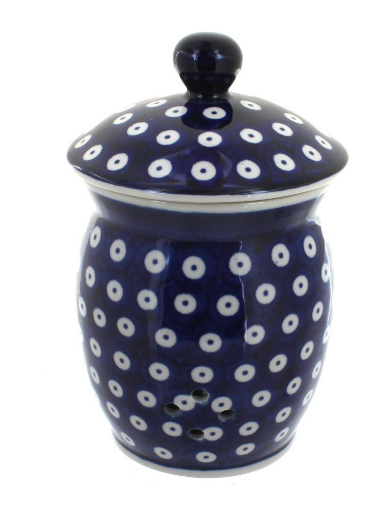 Blue Rose Polish Pottery Dots Garlic Keeper by Blue Rose Pottery