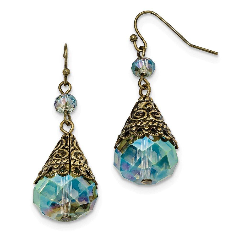 Jewelry Best Seller Brass-tone Glass Bead Dangle Shepherds Hook Earrings