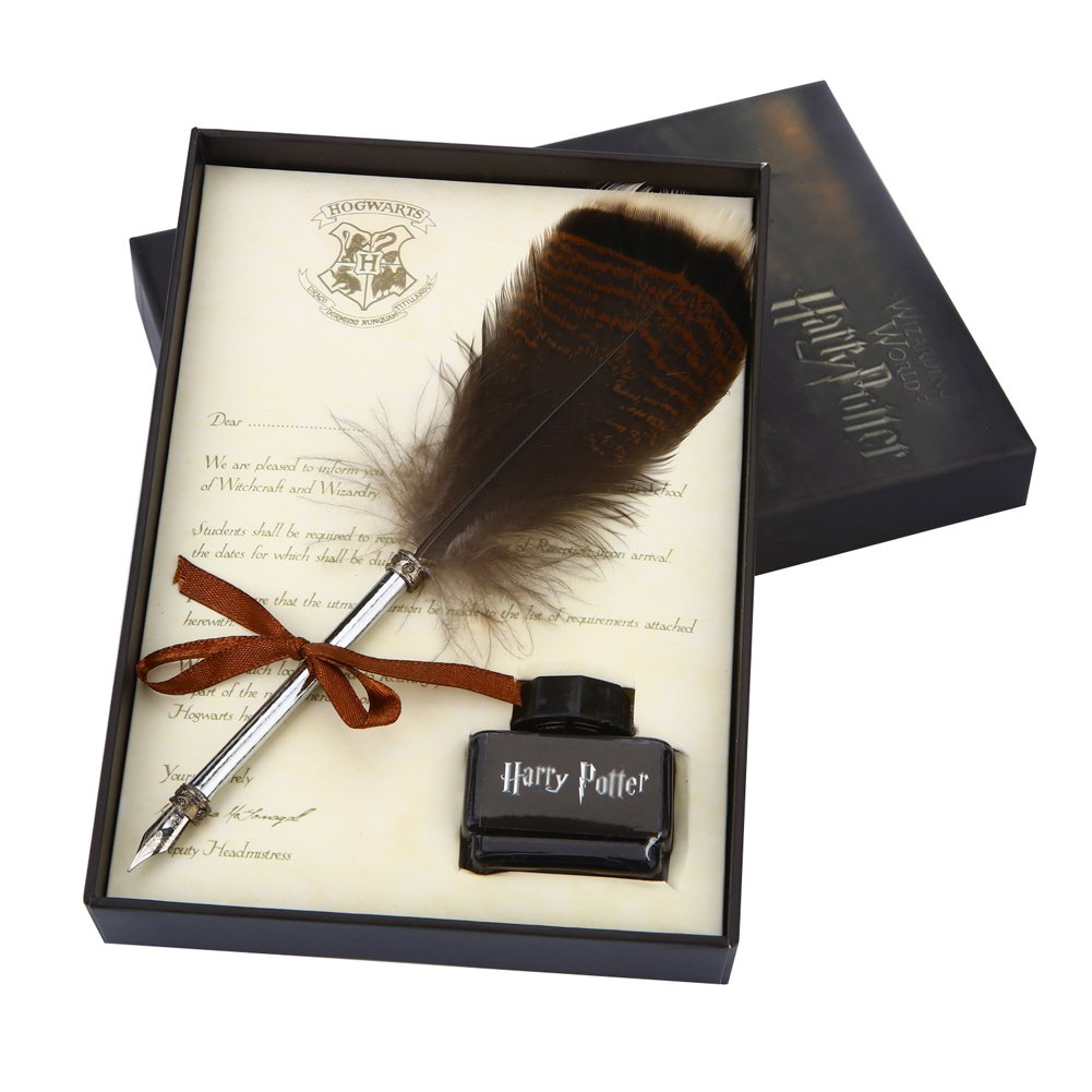 Antique Feather Dip Pen Set, Harry potter Writing Quill Ink Dip Pen set Best Christmas Gifts OPENDGO