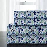 4 Piece Blue Luxury Sea Animals Themed Sheet King Set, Beautiful All Over Fish, Shells, Crabs, Loabsters, Coral, Seahorse, Starfish Print, Nuatical Ocean Theme Design, Vivid Colors, Microfiber