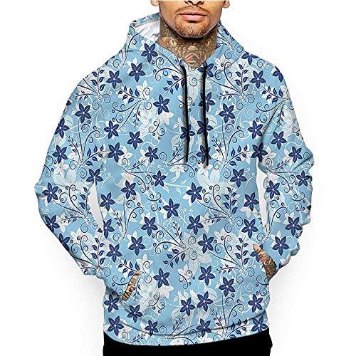 Hoodies Sweatshirt Pockets Blue and White,Modern Zig Zag,Zip up Sweatshirts for Women