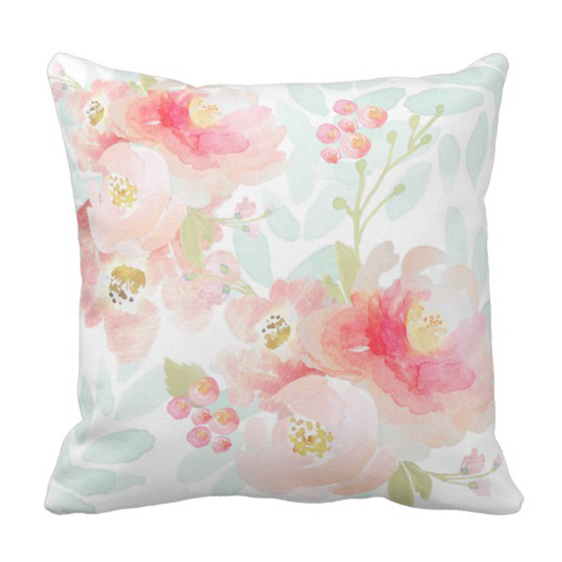 Amazon Emvency Throw Pillow Cover Watercolor Peonies Indy Bloom