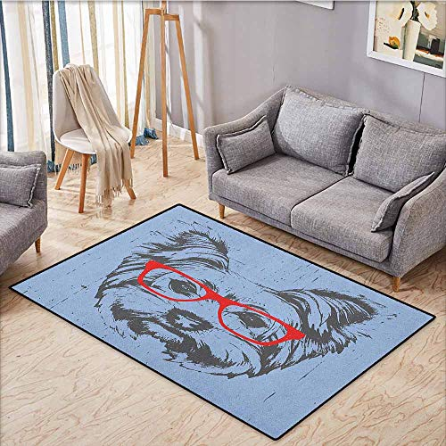 Large Door mat,Yorkie,Yorkshire Terrier Portrait Red Nerd Glasses Tainted Backdrop Animal,Anti-Slip Doormat Footpad Machine Washable,5'6