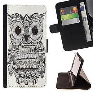 Dragon Case- Caja de la carpeta del caso en folio de cuero del tir¨®n de la cubierta protectora Shell FOR Samsung Galaxy S6 G9200- Owl Owls Cute Chevron Aztec