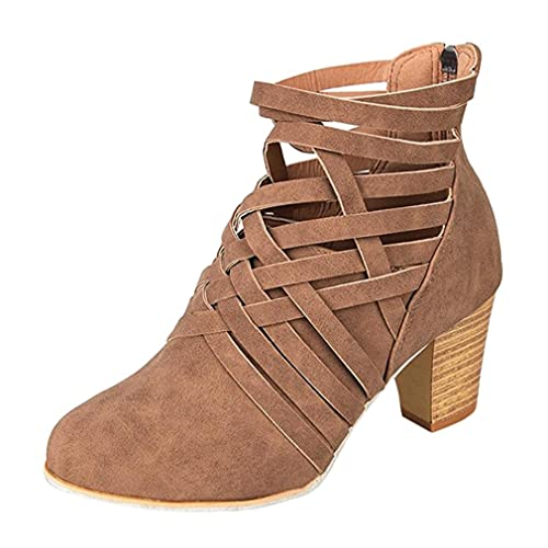 Juleya Botines Cortos para Mujer Invierno Otoño Primavera Bloque Grueso Tacones Apilados Ronda Toe Slip On Botines para Dama: Amazon.es: Zapatos y ...
