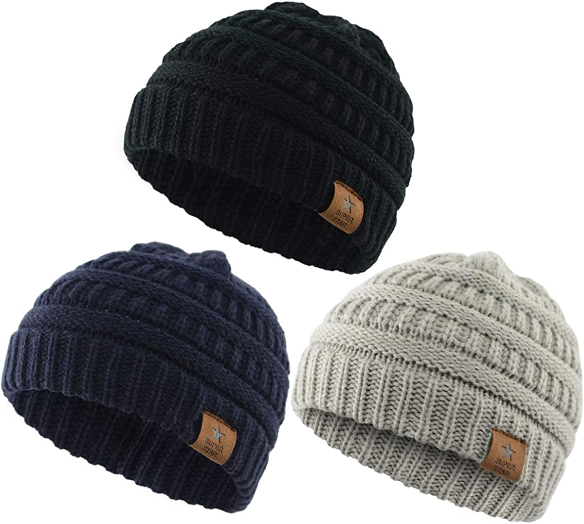Durio Soft Warm Knitted Baby Hats Caps Cute Cozy Chunky Winter Infant Toddler Baby Beanies for Boys Girls 3 Pack Black & Light Grey & Navy: Clothing