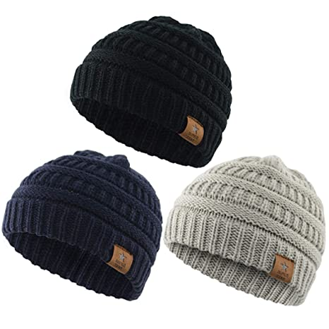 163985aad11 durio Soft Warm Knitted Baby Hats caps Cute Cozy Chunky Winter Infant  Toddler Baby Beanies for Boys Girls 3 Pack Black   Light Grey   Navy   Amazon.in  Baby