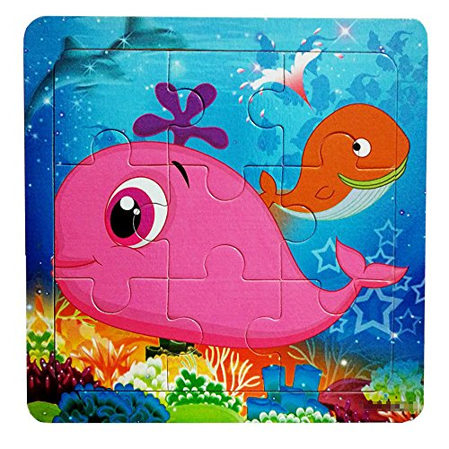 Gbell  Puzzle Kids 5 Years Old, Wooden Cute Whale Interesting Puzzle Early Educational Toys to Developmental Baby Kids Hands-On Ability Toys for Kids Boys Girls